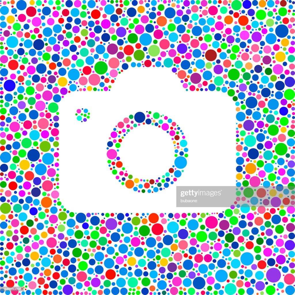 Camera Icon On Color Circle Background Pattern Vector Art