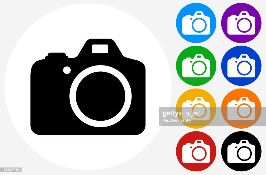DSLR Camera Icon on Flat Color Circle Buttons