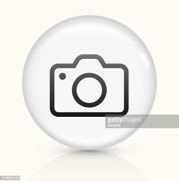 Camera icon on white round vector button