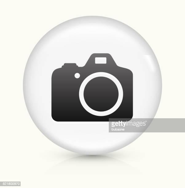 DSLR Camera icon on white round vector button