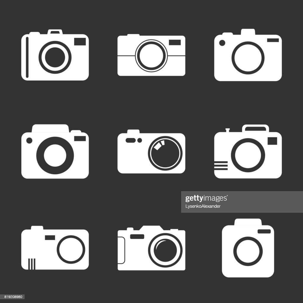 Camera icon set on black background. Vector illustration in flat style with photography icons.