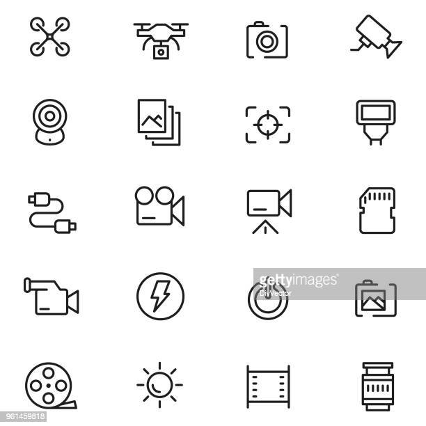 camera icon set - camera tripod stock illustrations, clip art, cartoons, & icons