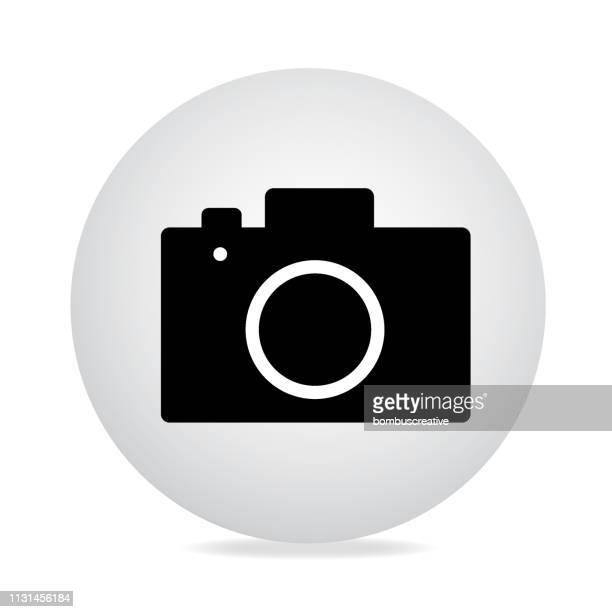 camera icon silhouette - film camera stock illustrations, clip art, cartoons, & icons