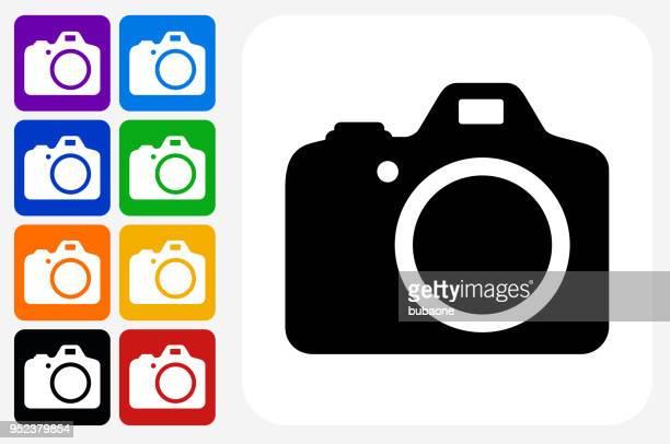 DSLR Camera Icon Square Button Set