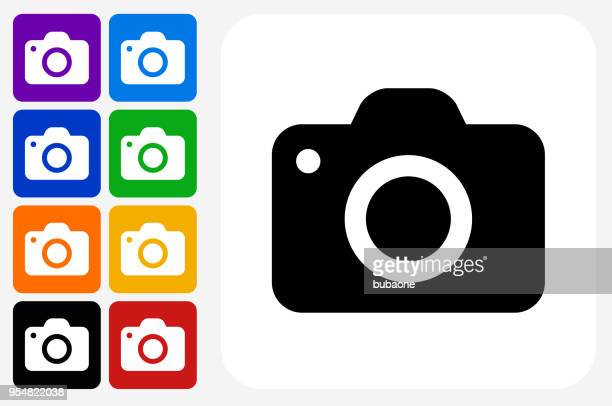 camera icon square button set - photography themes stock illustrations