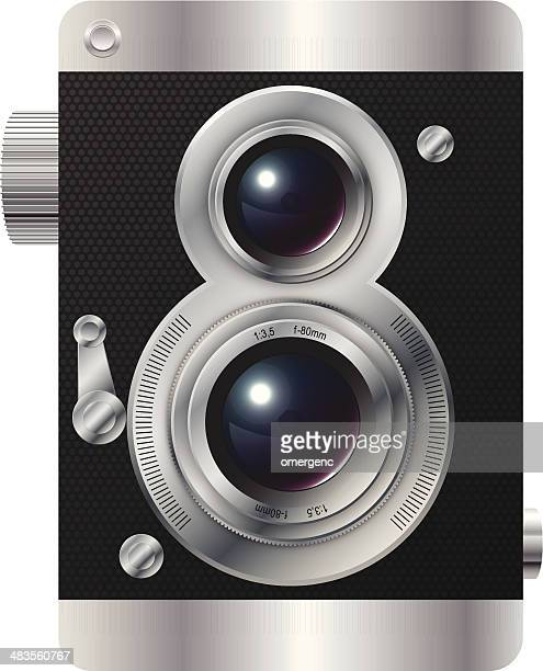 ilustrações de stock, clip art, desenhos animados e ícones de ícone da câmara - maquina fotografica antiga
