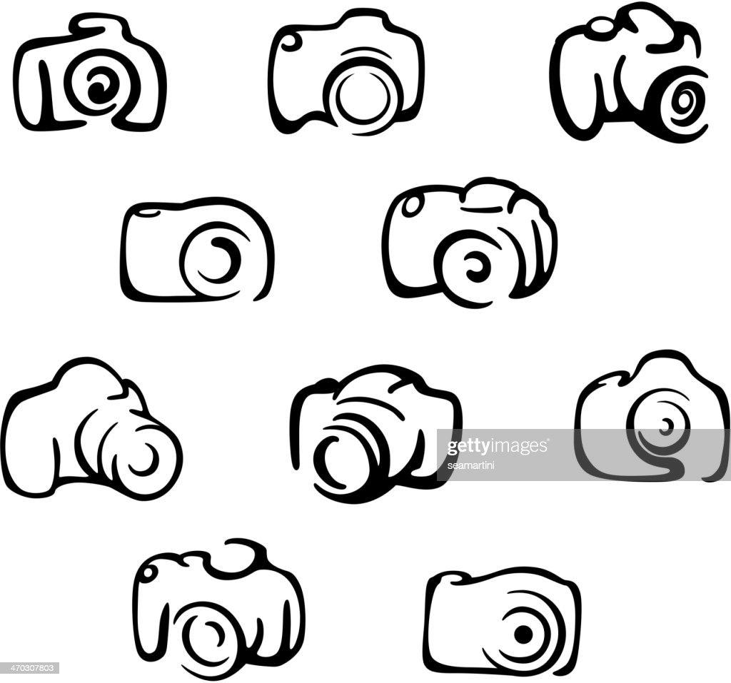 Camera icons and symbols set