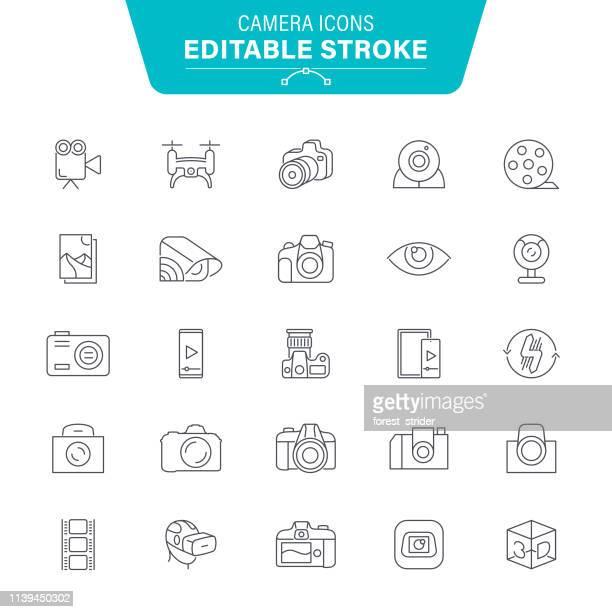 camera icons - film camera stock illustrations, clip art, cartoons, & icons
