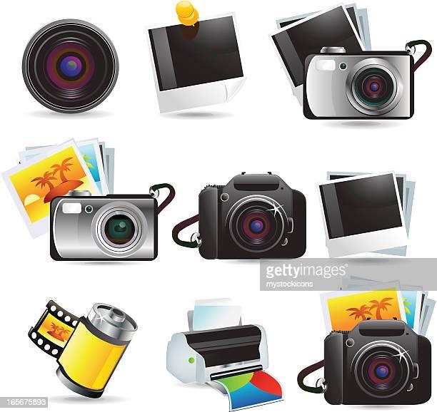 ilustraciones, imágenes clip art, dibujos animados e iconos de stock de iconos de cámara de la serie elite/web - camara reflex
