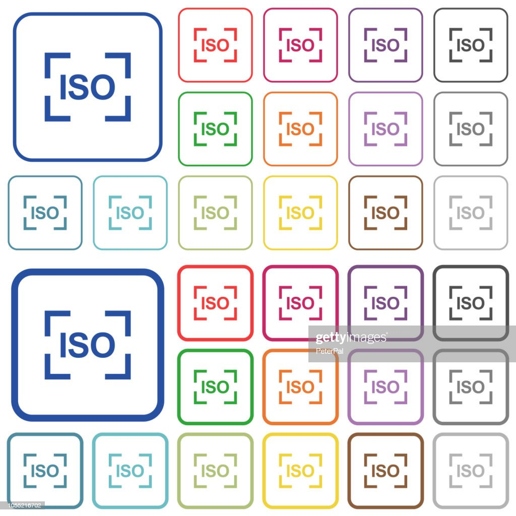 Camera iso speed setting outlined flat color icons