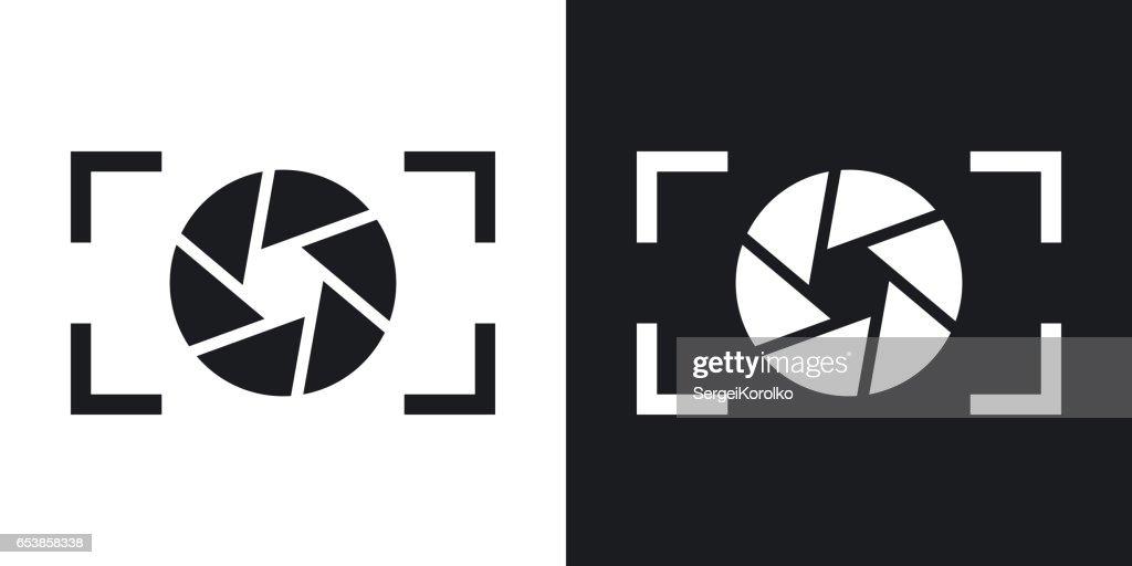 Camera lens icon, stock vector. Two-tone version