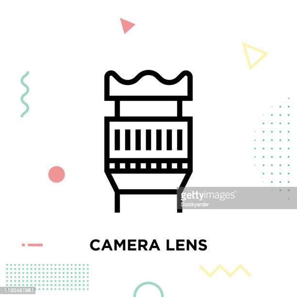 ilustraciones, imágenes clip art, dibujos animados e iconos de stock de icono de línea de lente de cámara diseño de trazo editable - camara reflex