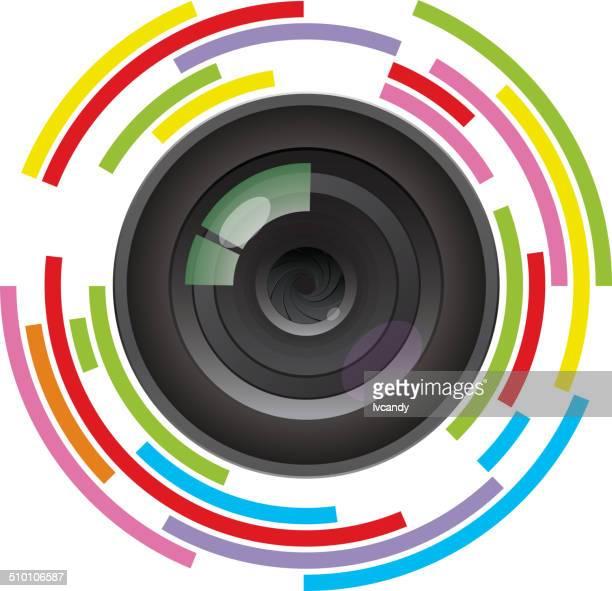ilustrações, clipart, desenhos animados e ícones de lente da câmera - lente