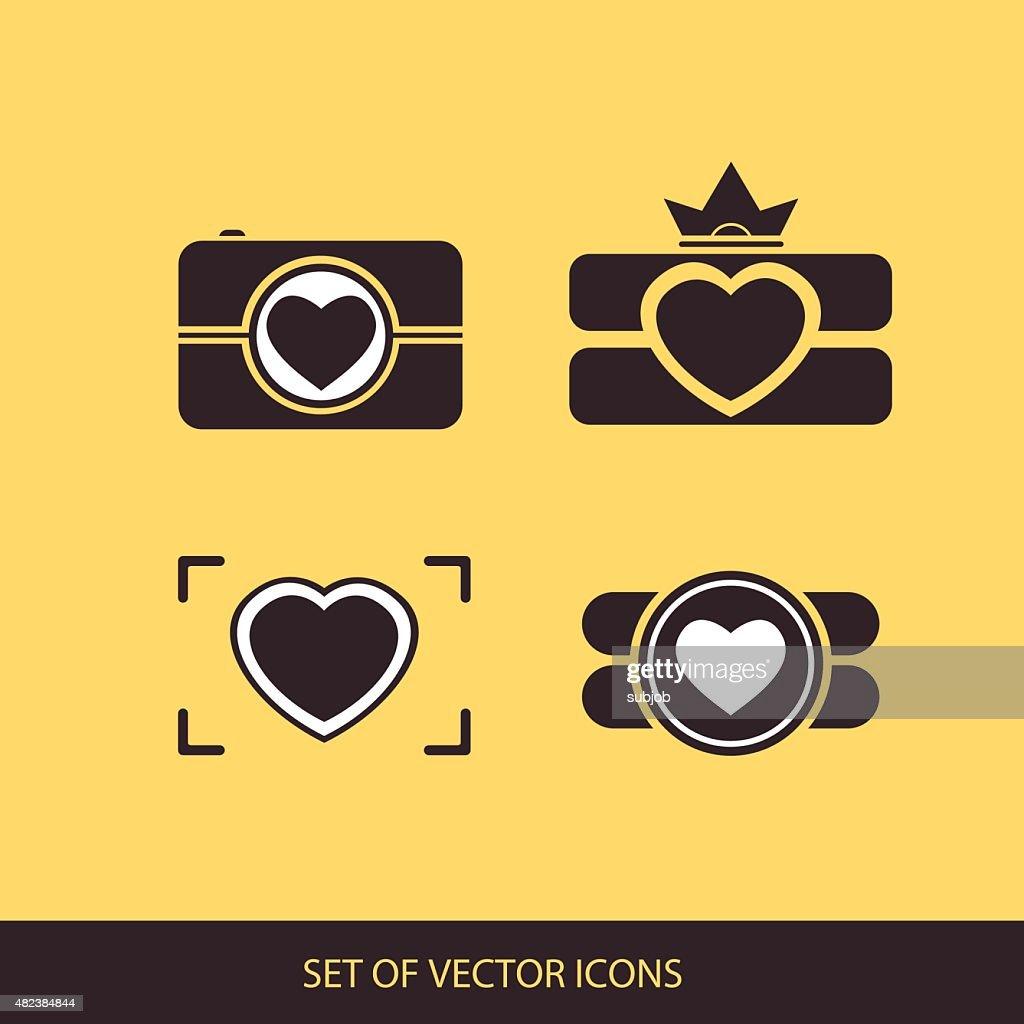 Camera, logo vector set. Trendy Hipster camera. photo icon