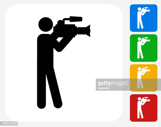 Camera Man Icon Flat Graphic Design