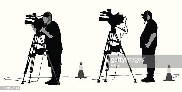 camera man vector silhouette - camera tripod stock illustrations, clip art, cartoons, & icons