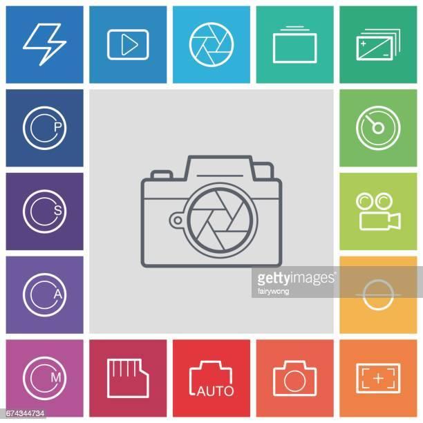 illustrazioni stock, clip art, cartoni animati e icone di tendenza di icone delle funzioni del menu fotocamera - mirino digitale