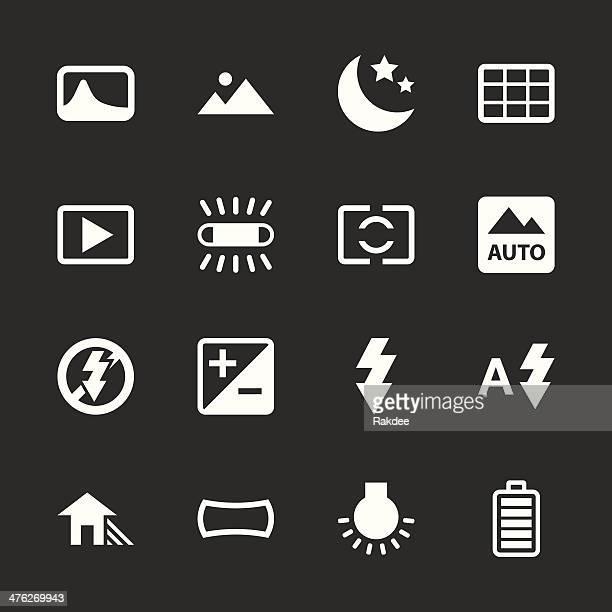 stockillustraties, clipart, cartoons en iconen met camera menu icons set 4 - white series | eps10 - digital viewfinder
