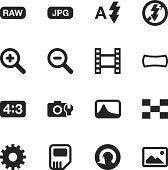 Camera Menu Silhouette Icons   Set 3