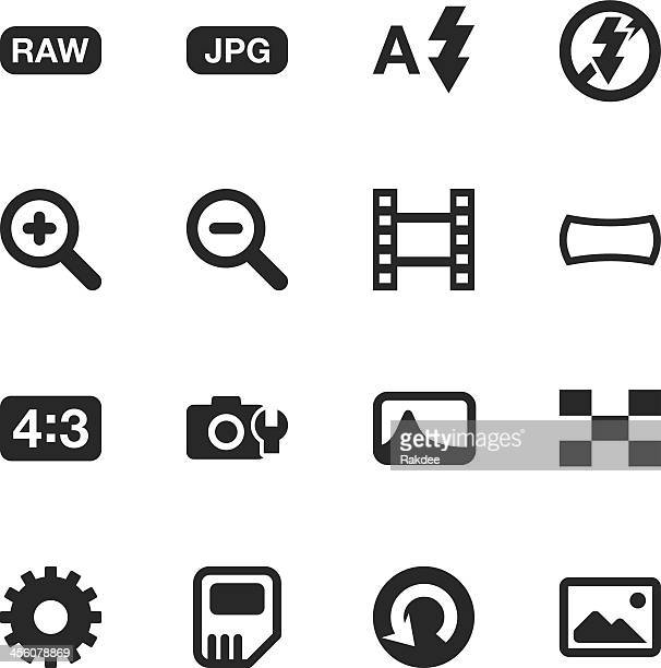 camera menu silhouette icons | set 3 - zoom in stock illustrations