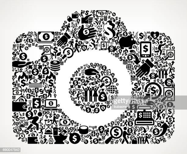 Camera  Money and Finance Black and White Icon Background
