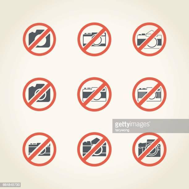 ilustraciones, imágenes clip art, dibujos animados e iconos de stock de señal de no se permite la cámara - stealth