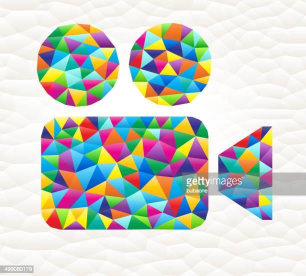 Camera on triangular pattern mosaic royalty free vector art