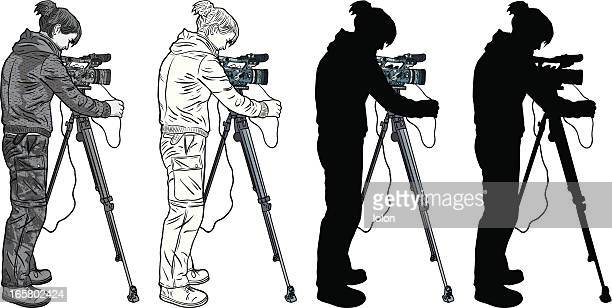 camera operator (silhouette and black & white versions) - camera operator stock illustrations, clip art, cartoons, & icons