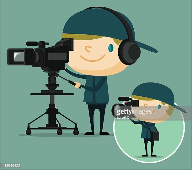 tv camera operator - video camera stock illustrations, clip art, cartoons, & icons