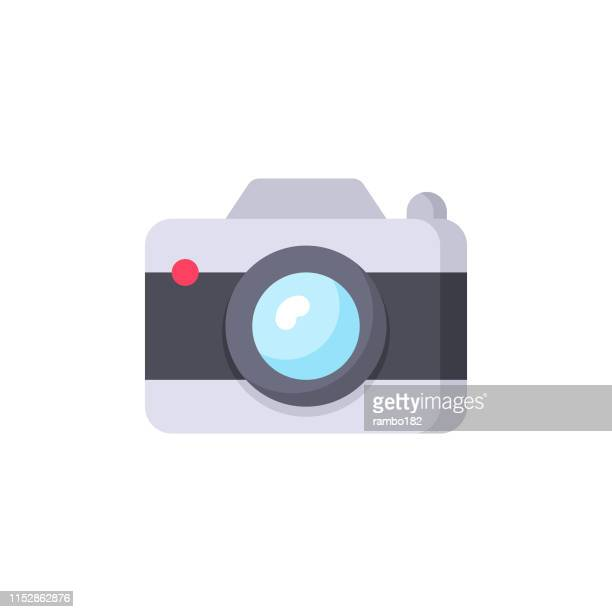 camera, photography flat icon. pixel perfect. for mobile and web. - digital camera stock illustrations