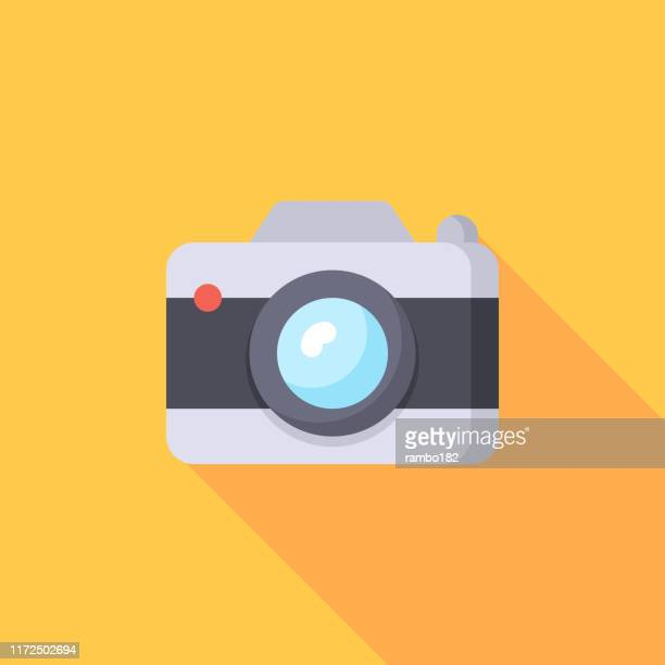camera, photography flat icon. pixel perfect. for mobile and web. - photographic equipment stock illustrations