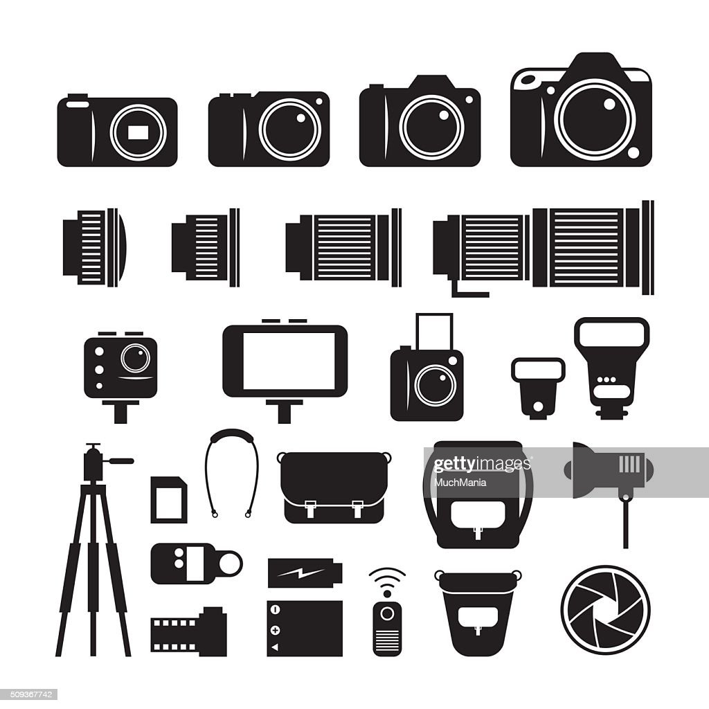Camera, Photography Mono Icons Set