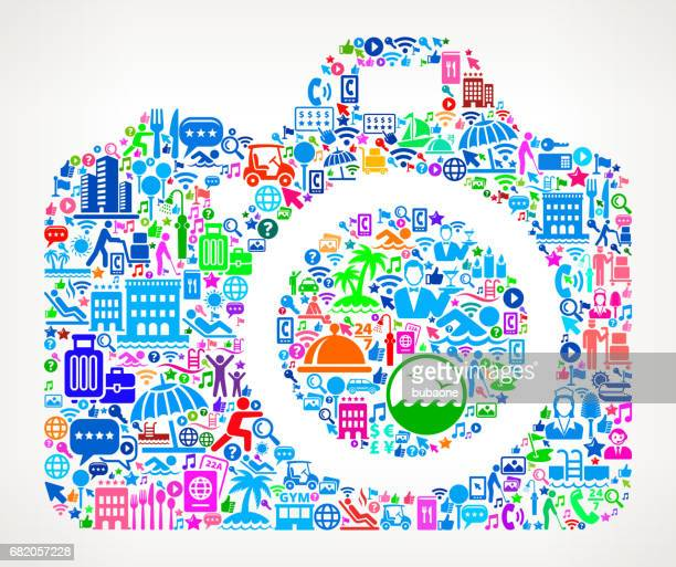 DSLR Camera Resort Hotel and Hospitality Industry Icon Background