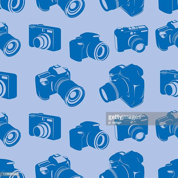 ilustraciones, imágenes clip art, dibujos animados e iconos de stock de mosaico patrón sin costuras de cámara - camara reflex
