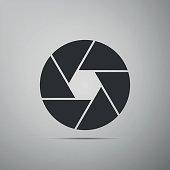 Camera shutter flat icon on grey background. Vector Illustration