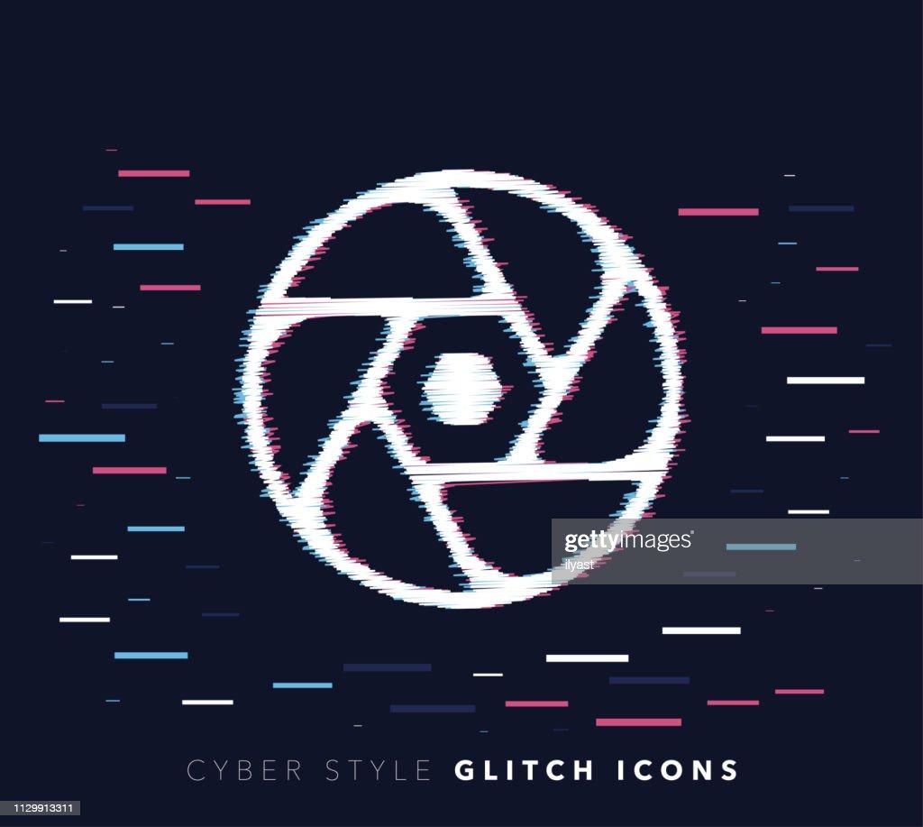 Camera Shutter Glitch Effect Vector Icon Illustration stock