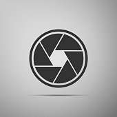 Camera shutter icon isolated on grey background. Flat design. Vector Illustration