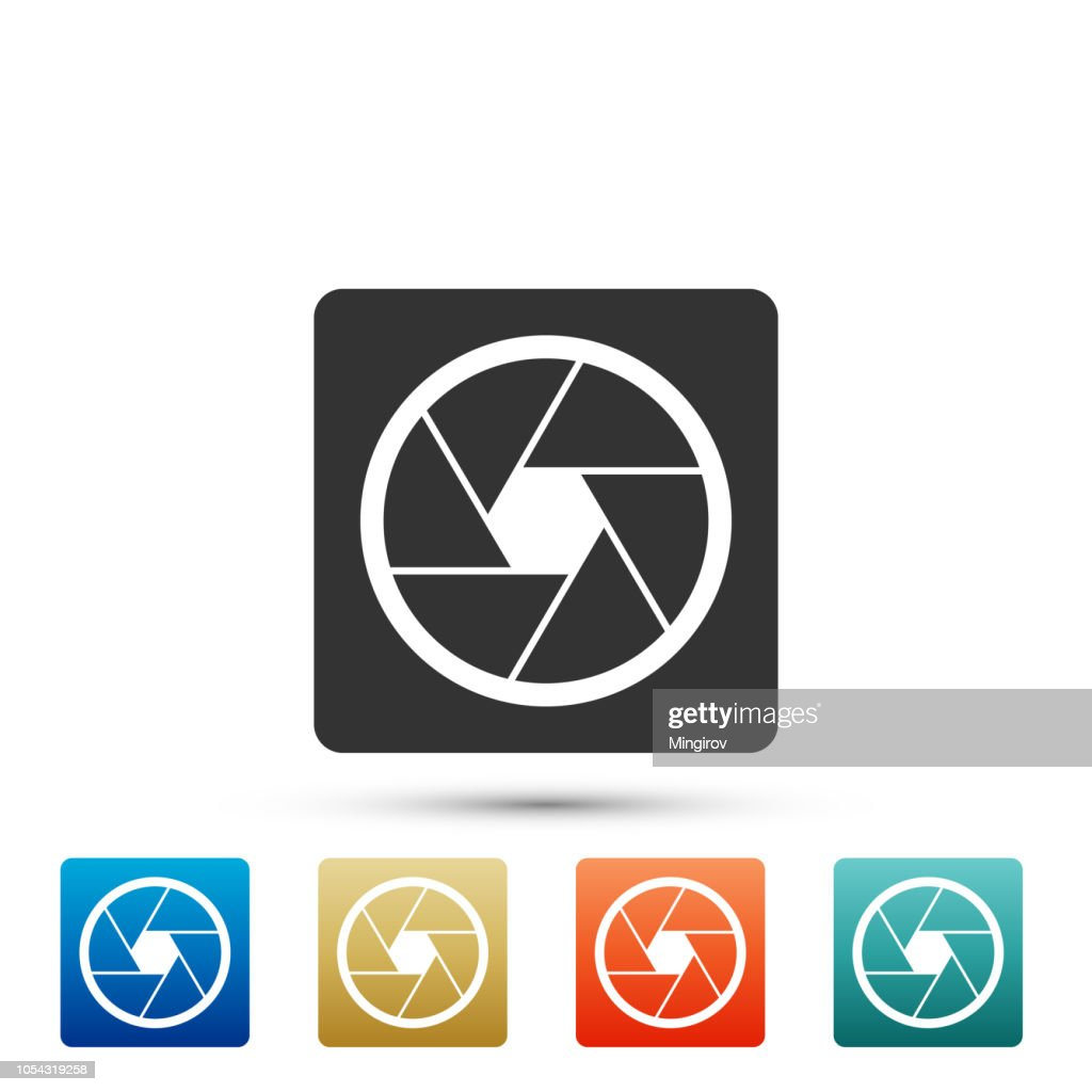 Camera shutter icon isolated on white background. Set elements in colored icons. Flat design. Vector Illustration