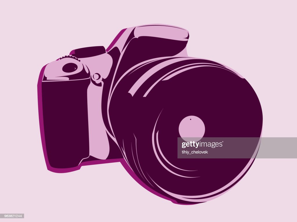 SLR camera, symbol style in pink tones on a light background