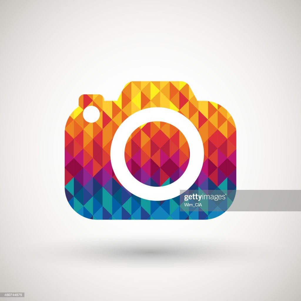 camera symbol with colorful diamond