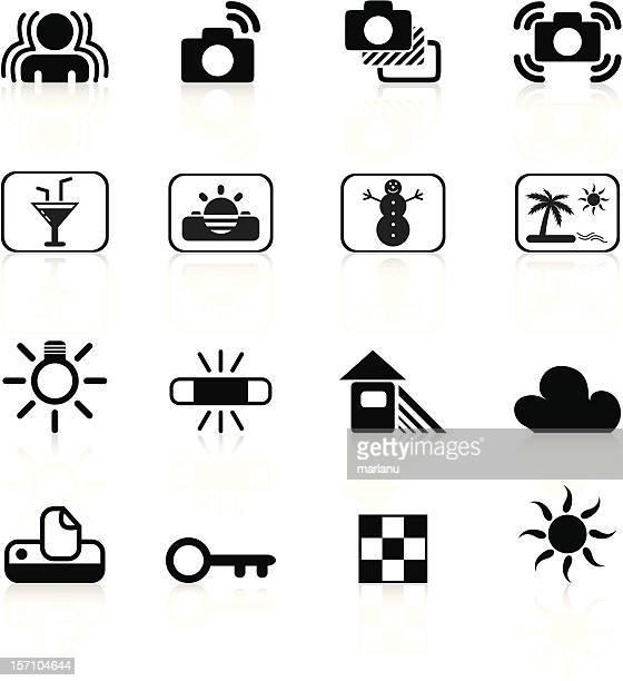slr camera symbols set3 - black series - light meter stock illustrations, clip art, cartoons, & icons