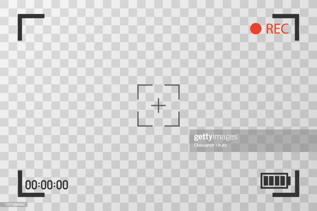 Camera view viewing images. Visual screen focusing. Video recording screen on a transparent background.