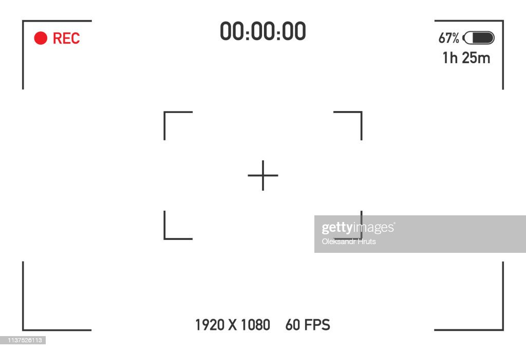Camera view viewing images. Visual screen focusing. Video recording screen on a transparent background. Vector illustration.