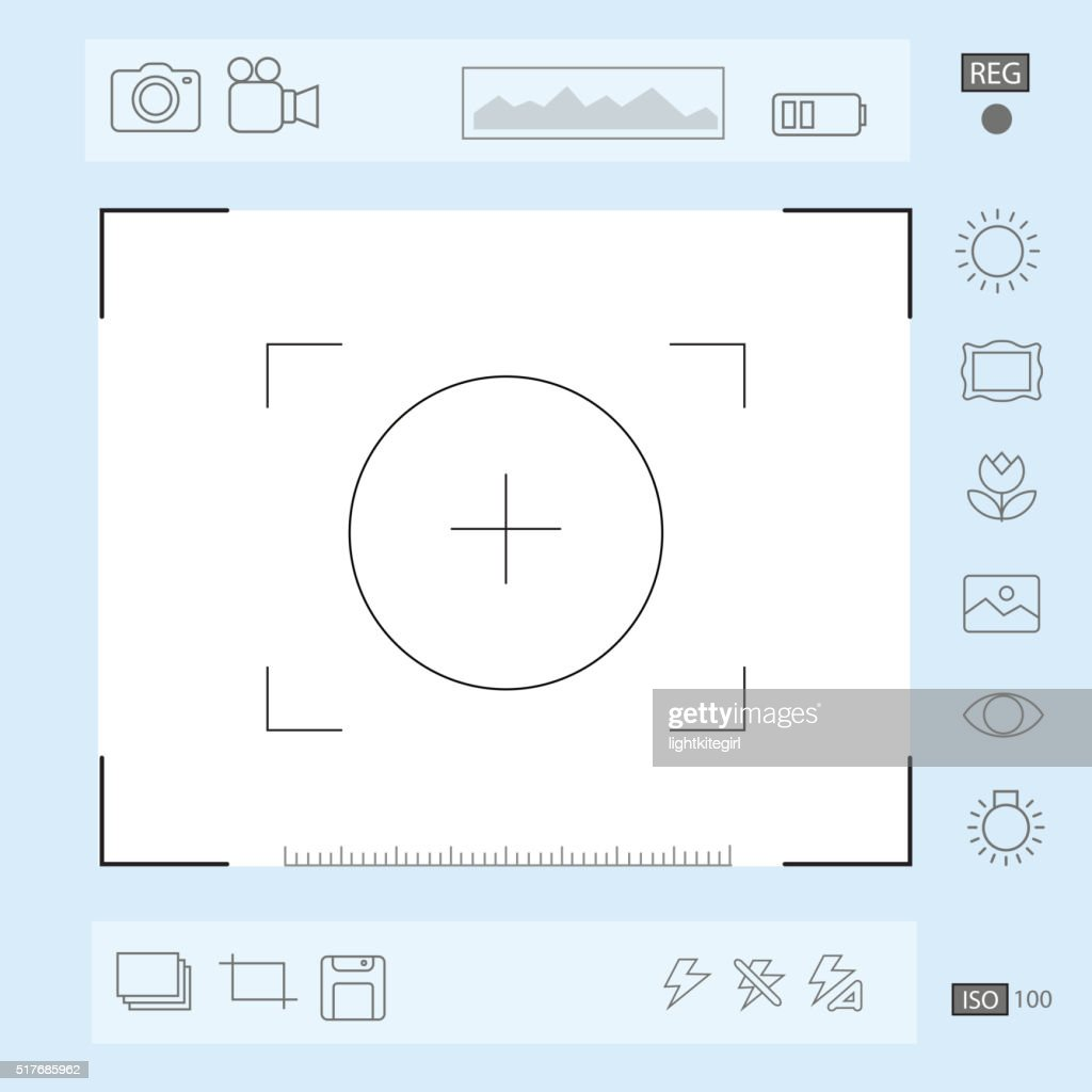 Camera viewfinder display, Exposure, composition focus, zoom, portrait vector