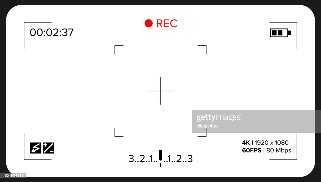 Camera Viewfinder Vector. Exposure And Video Camera Settings. Template