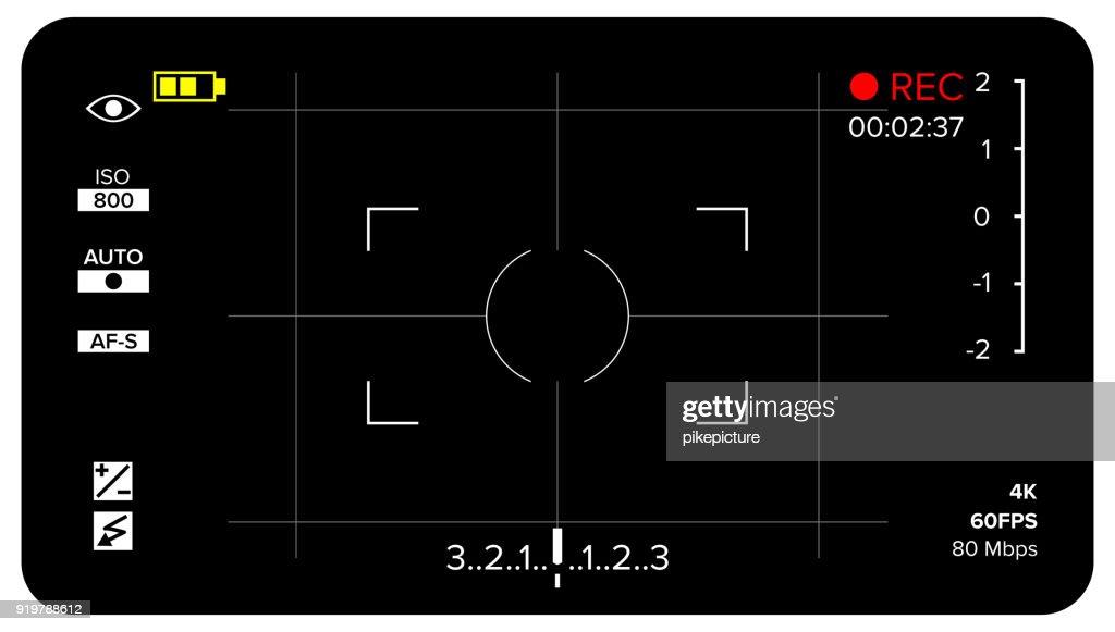 Camera Viewfinder Vector. Modern Camera Focusing Screen With Settings. Digital, DSLR. Camera Recording Illustration