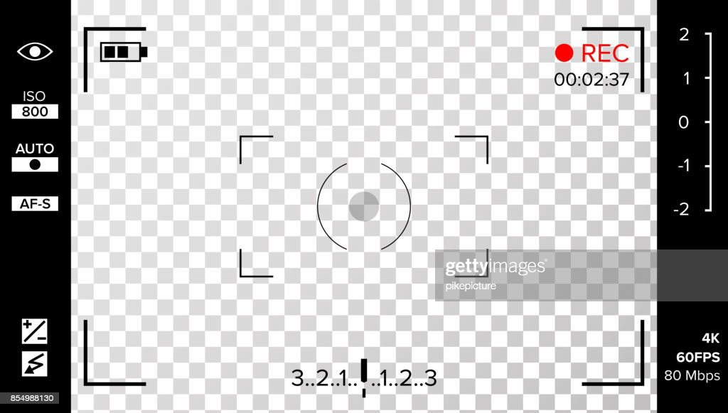 Camera Viewfinder Vector. Photo Or Video Camera Grid With Shooting Settings And Options On Screen. Recording Led Blinked. Realistic Corner Fall Off Background