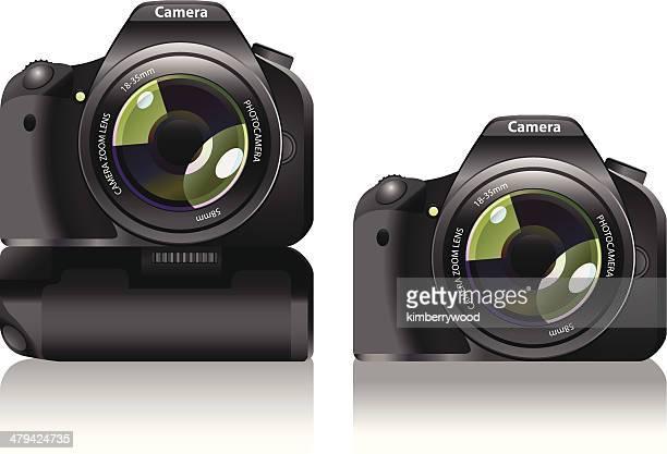 ilustraciones, imágenes clip art, dibujos animados e iconos de stock de cámara dslr con batería de sujeción - camara reflex
