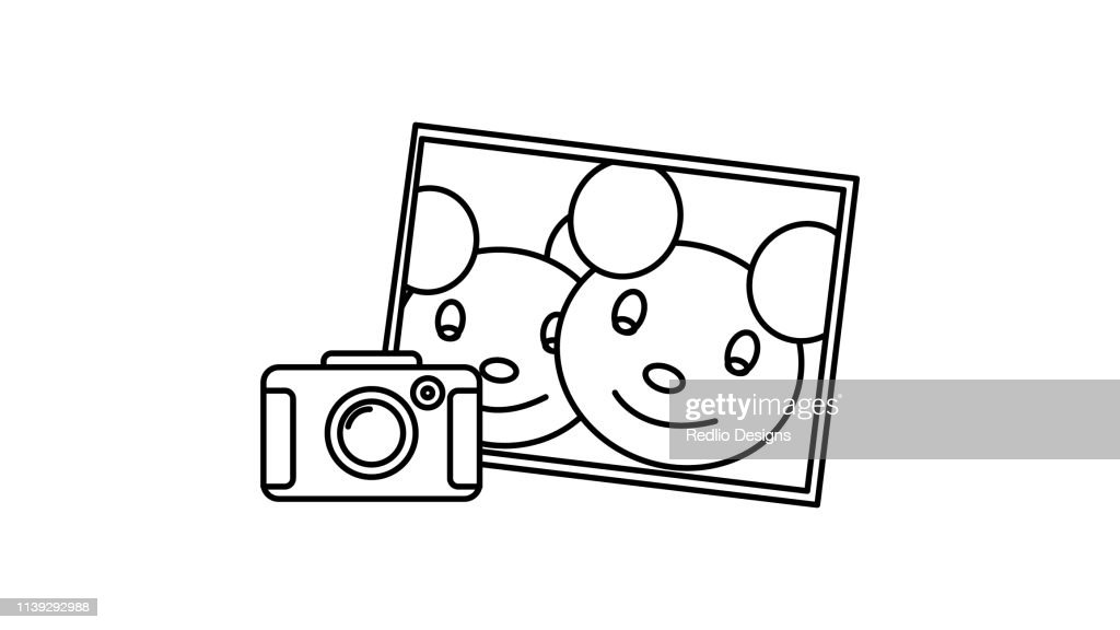 Camera with frame icon : stock illustration