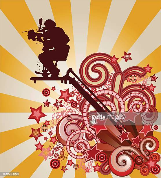 cameraman and shooting stars - camera operator stock illustrations, clip art, cartoons, & icons